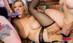 VR Porn Video - Lesbian Slut Getting Banged With 2 Strapons