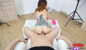 VR Porn Video - Petite Tattooed Babe Gets Ass Creampied