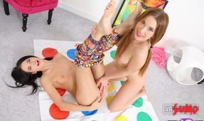 VR Porn Video - Nubile Lesbian Stepsisters get Horny Playing Twister