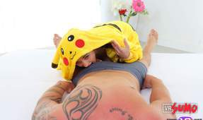 VR Porn Video - Cute Petite Babe in a Pikachu Suit Sits in your Dick