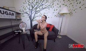 VR Porn Video - Sugar Shorts VR: Kimber Woods Sucking A Dildo