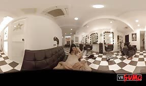 VR Porn Video - Hair Stylist BBW is Desperate to Suck and Fuck