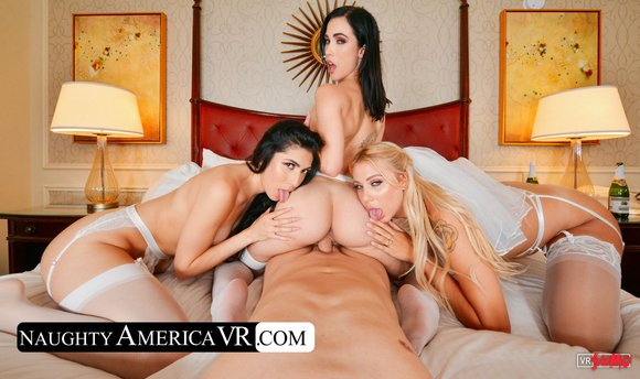 VR Porn Video - Three Hot Bridesmaids Riding Best Man's Cock