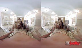 VR Porn Video - Titillating Foursome With an Interracial Pack of Teens in the Poolhouse