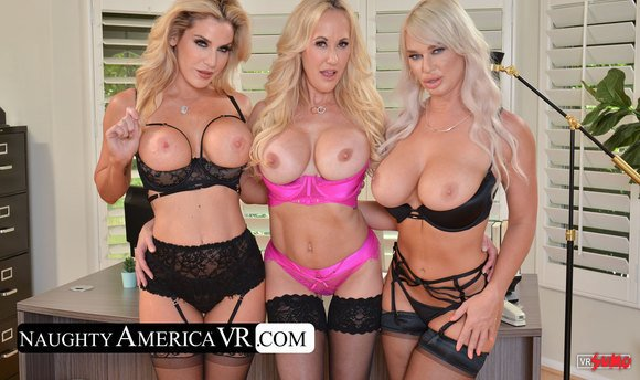 VR Porn Video - The Boss Brandi Love And Co-Workers Kayla Paige And London River