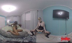 VR Porn Video - 2 Horny amateur lesbians rubbing their pussies next to each other