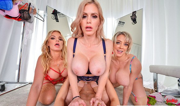 VR Porn Video - Foursome With Sunning Blonde MILFS