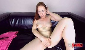 VR Porn Video - Casting: Busty Czech Redhead Plays with Herself on the Couch