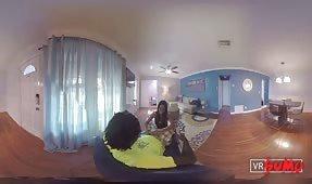 VR Porn Video - Hot Ass Ebony Teen Blowjob Over the Shoulder