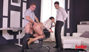 VR Porn Video - Handcuffed Office Slut Double Penetrated