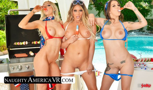 VR Porn Video - Three Sexy Babes Invited Early To The Memorial Day Party