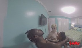 VR Porn Video - Black Dude Getting A Great Blowjob By Two Sluts